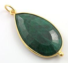 Green Corundum Color Enhanced Bezel Gemstone Pendant by Beadspoint, $32.99