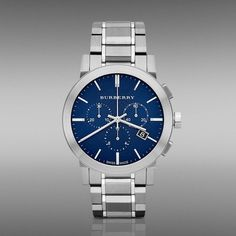 Burberry Chronograph Blue Dial Stainless Steel Mens Watch Nice stainless steel watch with a beautiful deep blue dial. A very distinctive look for all occasions! Mens Watches For Sale, Best Watches For Men, Luxury Watches For Men, Burberry Watch, Stylish Watches, Elegant Watches, Stainless Steel Watch, Digital Watch, Rolex Watches