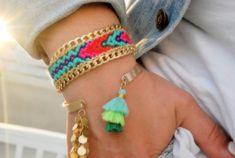Friendship bracelet. Macrame. Chain Handwoven Friendship Bracelet Aztec . Neon Pink / Neon Orange /Turquoise by sobohemians on Etsy