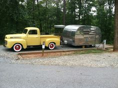 Willabean our 1955 Trotwood Cub along with Millie ('48 Ford F1) camping at Indian Springs Georgia!