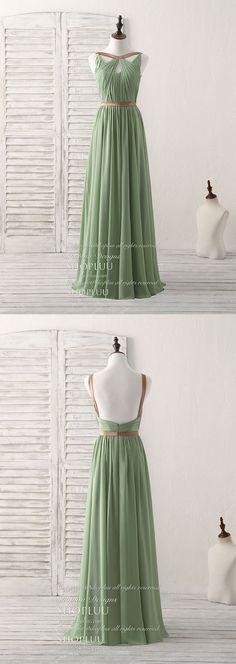 Simple green chiffon long prom dress, green bridesmaid dress