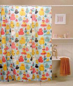 duck shower curtain hooks   ... YELLOW DUCK DUCKS DUCKY STRIPE ...