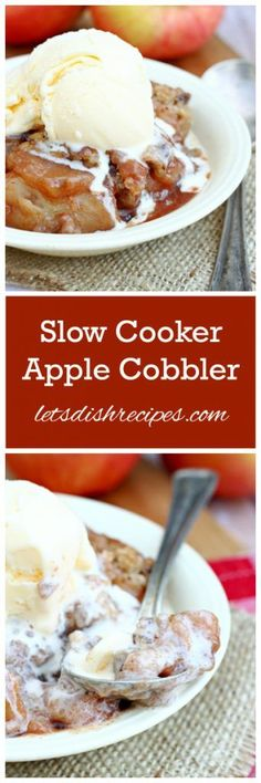 Slow Cooker Apple Cobbler Recipe | The perfect dessert for fall!
