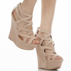 Nude Strappy Platform Wedges