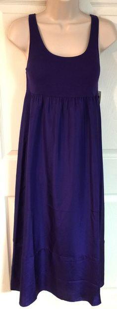 Gap Body Medium Maxi Dress Tank Nightgown Sleeveless Silk Cotton Purple M   eBay