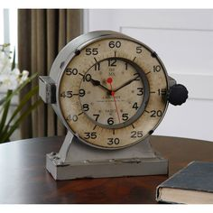Uttermost 06096 Marine Decorative Table Clock in Antiqued/Aged Ivory
