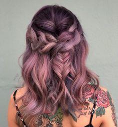 mauve color with a fishtail braid - Nails 03 Box Braids Hairstyles, Cool Hairstyles, Vivid Hair Color, Beautiful Hair Color, Mauve Color, Colour, Corte Y Color, Festival Hair, Mermaid Hair