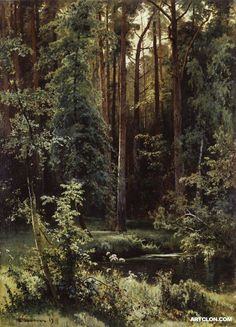 Oil painting Shishkin Ivan Ivanovich Edge of deciduous forest Hand painted