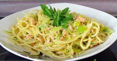 Spaghetti mit Räucherlachs und Lauch