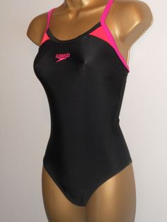 1e02e2d7c3 LADIES BLACK   PINK   RED SPEEDO RACER BACK SWIMSUIT SIZE 12 SWIMWEAR   fashion