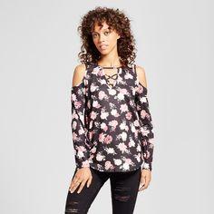 Women's Floral Cold Shoulder Lace-Up Blouse - Alison Andrews Black XL