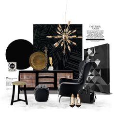 Guelfo by Opinion Ciatti. Mood Board Interior, Interior Design Boards, Flat Color Palette, Home Depot, Interior Design Presentation, Gold Home Decor, Black And White Interior, Burke Decor, Black Decor