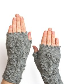 Hand Knitted Fingerless Gloves,  Grey, Clothing And Accessories, Gloves & Mittens, Gift Ideas, Accessories,