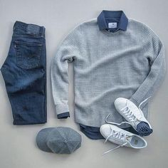 Men Clothing casual fall monochrome outfit inspiration with a textured gray sweater blue button up shirt levi denim gray hat white sneakers and blue socks. My guess this is no idea though Stylish Mens Outfits, Casual Outfits, Men Casual, Casual Fall, Casual Weekend, Casual Shirt, Smart Casual, Fashion Mode, Mens Fashion