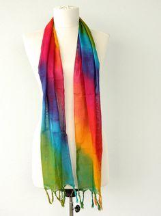 Rainbow scarf Cotton gauze summer scarf Batik by violasboutique