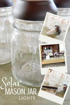 DIY Solar Mason Jar Lights .... I think I'll add a small burlap or twine bow around the rims for fall decor.