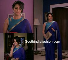 Anita Hassanandani aka Shagun Arora's latest trendy saree blouse designs from Ye Hai Mohabbatein. Blouse Designs High Neck, Sari Blouse Designs, Saree Jacket Designs Latest, Designer Blouse Patterns, Saree Blouse Patterns, Shagun Blouse Designs, Saree Jackets, Modern Saree, Plain Saree