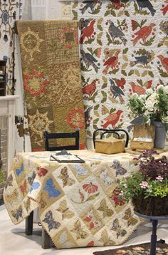 Love that birdie quilt - and the butterfly one too - by Blackbird Designs featuring Moda's Meadow fabric