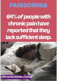 Painsomnia is the inability to sleep (insomnia) because of chronic pain.  64% of people with chronic pain reported that they lack sufficient sleep. #painsomnia #sleep #insomnia #chronicpain Chronic Migraines, Chronic Illness, Chronic Pain, Autoimmune Arthritis, Bedtime Yoga, Sleep Problems, How To Get Sleep, Medical Conditions, Insomnia