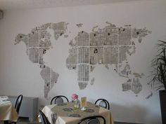 Welcome, welcome, take a seat Newspaper Wall, Newspaper Crafts, Inspiration Wand, Map Wallpaper, Wall Decor, Room Decor, Wall Maps, Take A Seat, Bedroom Wall