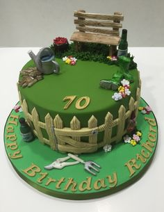 Mini Birthday Cakes – Celebrate in Style! Buttercream Cake Designs, Fondant Cake Designs, Fondant Cakes, Garden Birthday Cake, 70th Birthday Cake, Allotment Cake, Birthday Cake For Women Simple, Cake For Boyfriend, Ocean Cakes