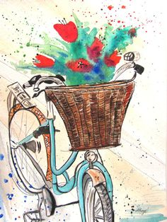 3 blank card set, print of original artwork 5x7 inches. flowers in bicycle basket, green, blue, red,. $8.00, via Etsy.