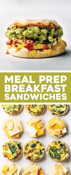 Breakfast Sandwiches - meal prep style! Bake up your eggs on a sheet pan with bacon and spinach, tuck them into english muffin with some cheese, and stash them in the freezer for the week. SO GOOD. | pinchofyum.com Breakfast Sandwich Recipes, Healthy Breakfast Recipes, Brunch Recipes, Healthy Recipes, Sandwich Ideas, Meal Prep Recipes, Easy Sandwich Recipes, Bacon Sandwich, Bacon Recipes