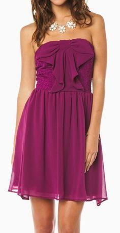 Waterfall Bow Front Chiffon & Lace Dress ღ