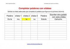 ACTIVIDADES DISLEXIA Completar palabras con sílabas dejamos Plantilla - Orientacion Andujar