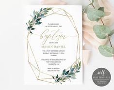Check out our baptism selection for the very best in unique or custom, handmade pieces from our shops. Dinner Invitation Template, Rehearsal Dinner Invitations, Baby Shower Invitation Templates, Baptism Invitations, Invites, Baby Shower Invitaciones, Photo Center, Text Color, Marry Me