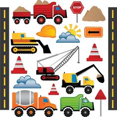 kids wall Stickers construction, Road Works Wall stickers, digger wall stickers