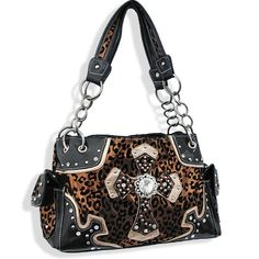 Brown Animal Print Cross Cowgirl Purse