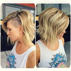 Shaved side cut design!! I love this!                                                                    De bob blijft gewoon hot in 2015! Hippe bob kapsels voor dames!