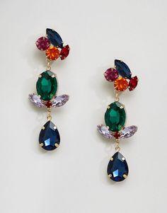 ASOS Jewel Triple Drop Gemstone Earrings - Multi