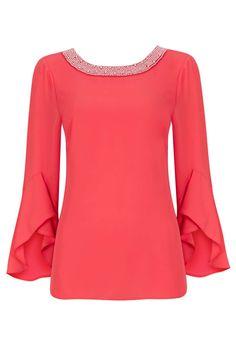 Coral Pearl Trim Bell Sleeve Top - Tops - Clothing - Wallis Europe