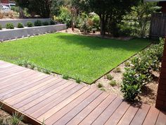 Hardwood timber boardwalk leading to spa area off your deck and lawn area