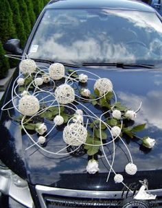 Wedding car decoration.