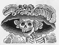 Jose Guadalupe Posada, the Mexican, political cartoonist and engraver, is most famous for his amusing and often satirical calaveras (skulls) and skeletons.