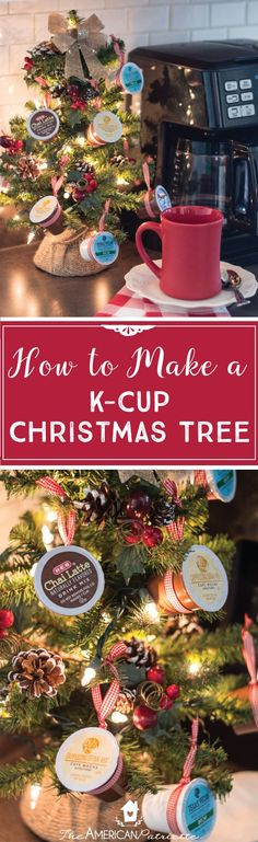 How to make a K-Cup Coffee Christmas Tree - perfect Christmas decoration or Christmas gift for coffee-lovers! #coffeelover #DIYChristmasgift #DIYChristmasDecor