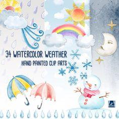 Watercolor Weather Clip Art Bundle/ Rain Drop, Cloud, Sun, Moon, Gold Star, Rainbow, Snowflake Snowman, Umbrella, Wind, Hand Painted Clipart on Etsy, $4.95 CAD