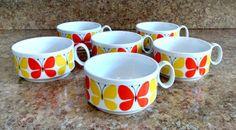 Retro Soup Mugs / Orange and Yellow Butterflies / Mod Soup Mugs / Set of 6