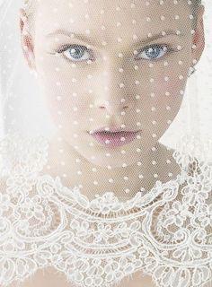 goregous lace and polka dot veil......