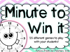 There are 25 minute to win it games to use in the classroom. They do not come with the materials to use.   Check out my blog post I wrote last year that shows these games in action!  http://tonyastreatsforteachers.blogspot.com/2013/06/monday-made-it-with-minute-to-win.html