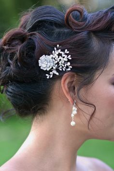 Bridal Hair Pins Pearl and Rhinestone Vine Hair Pin by OWDJewelry, $60.00