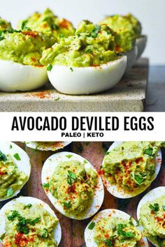 NEW This avocado deviled eggs recipe is the BEST thing thats ever happened to yo. - NEW This avocado deviled eggs recipe is the BEST thing thats ever happened to your paleo or healthy eating plan. Full of creamy flavor and addictingly good! Avocado Deviled Eggs, Avocado Hummus, Deviled Eggs Recipe, Avocado Toast, Keto Avocado, Avocado Egg Recipes, Avacado Snacks, Avocado Ideas, Avacado And Eggs