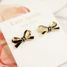 Kate Spade skinny bow earrings in black Cute Jewelry, Jewelry Box, Jewelery, Bow Earrings, New York, Glitz And Glam, Diamond Are A Girls Best Friend, Girly Things, Jewelry Accessories