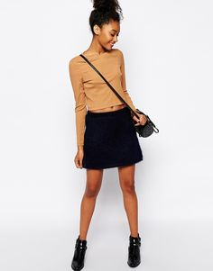 Monki+Brushed+Mini+Skirt
