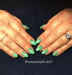 Gel nails - green shimmer gel nails