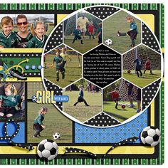 Soccer Layout (Pg 2 of 2) - Two Peas in a Bucket School Scrapbook, Kids Scrapbook, Scrapbook Page Layouts, Scrapbook Sketches, Scrapbook Supplies, Scrapbook Albums, Scrapbook Cards, Yearbook Layouts, Picture Layouts