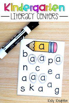 Kindergarten Literacy Centers - Beginning sounds, letter recognition, letter formation, final sounds, vowel sounds, rhyming, CVC words, blends, digraphs, & MORE!